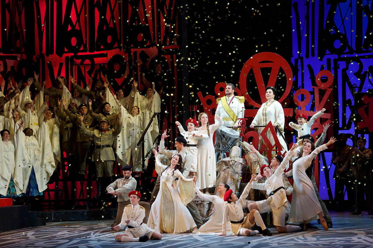David Pomeroy (Radamès) and Elena Gabouri (Amneris) with cast members of Seattle Opera's Aida. Jacob Lucas photo