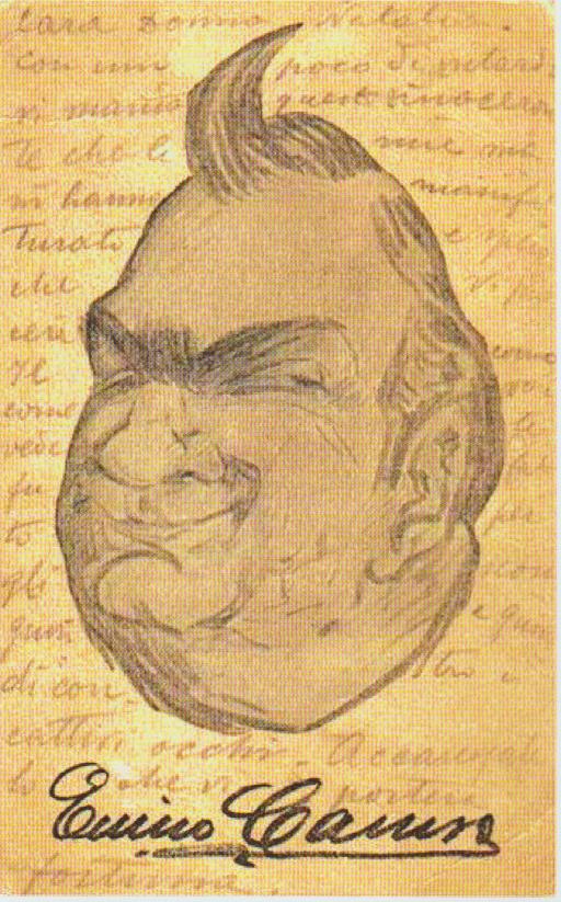 Autocaricatura di Enrico Caruso (dal programma dell'incontro)